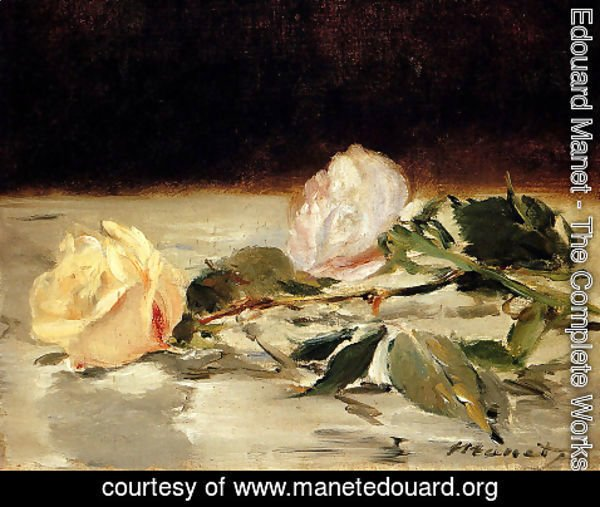 Edouard Manet - Two Roses On A Tablecloth