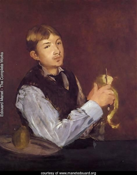 Young Man Peeling a Pear