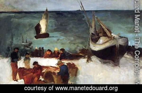 Edouard Manet - Berck Seascape: Fishing Boats and Fishermen