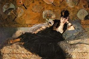 Edouard Manet - Lady with Fans, Portrait of Nina de Callais