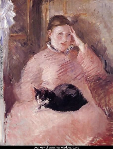 Woman with a Cat, Portrait of Madame Manet