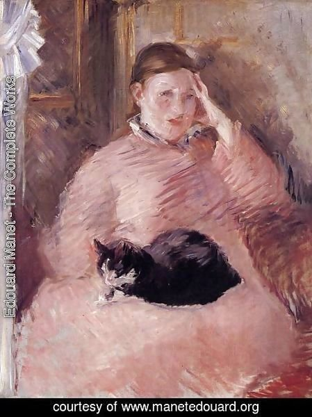 Edouard Manet - Woman with a Cat, Portrait of Madame Manet