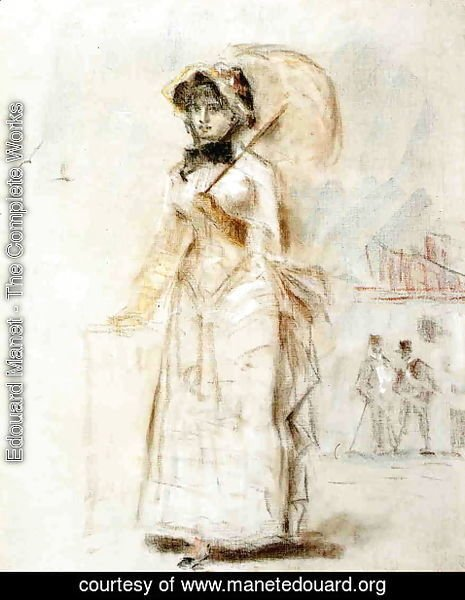 Edouard Manet - Young Woman Taking a Walk, Holding an Open Umbrella