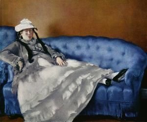 Edouard Manet - Portrait of the woman on a blue sofa
