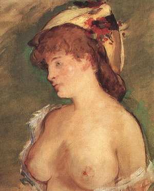 Blond Woman with Bare Breasts  1878