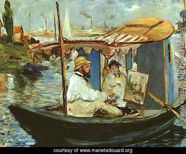 Claude Monet Working on his Boat in Argenteuil  1874