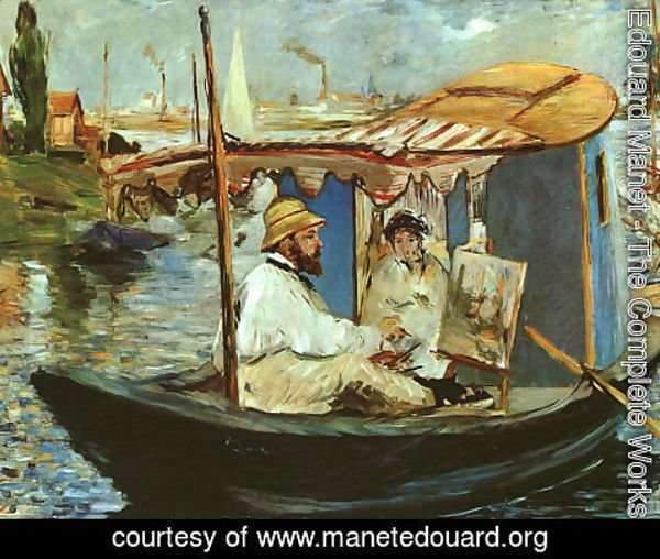 Edouard Manet - Claude Monet Working on his Boat in Argenteuil  1874
