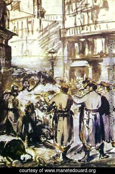 Edouard Manet - The Barricade   Civil War