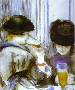 Two Women Drinking Bocks