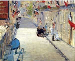 Edouard Manet - Rue Mosnier with Flags  1878
